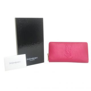 Saint Laurent Fuchsia Grained Leather Belle Du Jour Chevrette Wallet