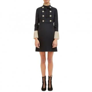 Gucci Black Military Ruffle Wool & Silk Mini Dress