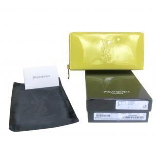 Saint Laurent Patent Citrine Belle Du Jour Zip Wallet