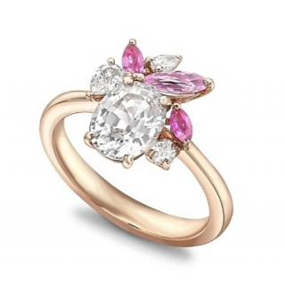 William & Son Diamond & White/Pink Sapphire Ballet Ring