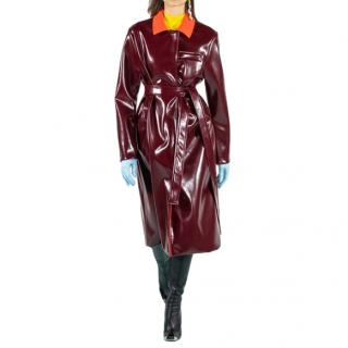 Emilio Pucci Runway Two-Tone Belted Vinyl Trench Coat