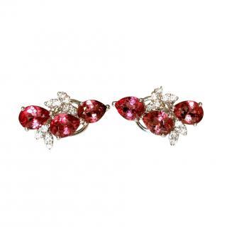 Bespoke 18ct White Gold Diamond & Pink Tourmaline Earrings