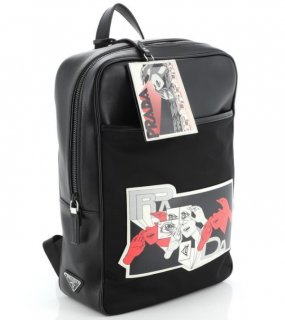 Prada Leather & Nylon Comic Print Large Backpack
