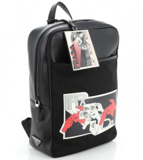Prada Leather & Nylon Comic Print Large Backpack