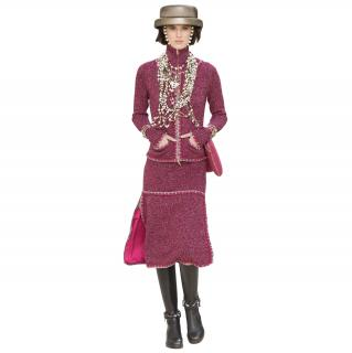 Chanel Runway Crimson Tweed Lurex Trimmed Cashmere Zip Jacket