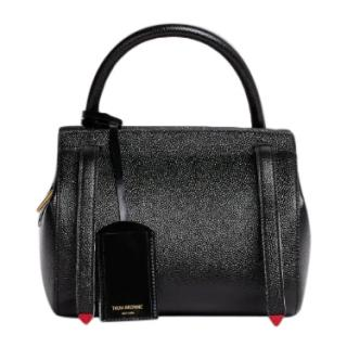 Thom Browne Black Pebbled Leather Small Tote Bag