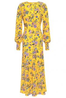 Les R�veries yellow liberty prints silk crepe de chine midi dress