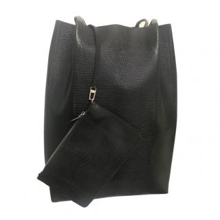 Alaia Black Lizard Effect Tote Bag