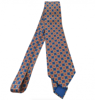 Hermes Blue & Red Printed Silk Tie