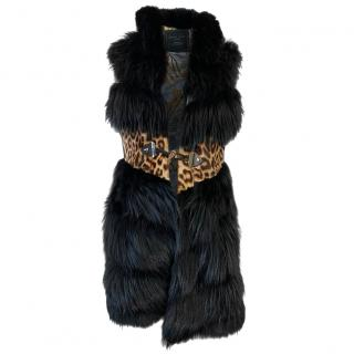 Philipp Plein Couture Fox Fur Gilet with Leopard Detail