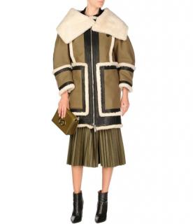 DSquared2 Khaki Shearling Trimmed Virgin Wool Oversize Coat