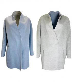 Loro Piana Grey & Baby Blue Reversible Wool/Cashmere Coat
