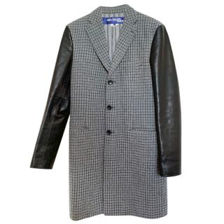 Junya Watanabe Comme Des Garcons Faux Leather & Wool Houndstooth Coat