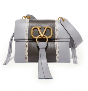 Valentino VRING small watersnake-trimmed calfskin shoulder bag