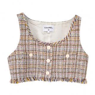 Chanel Multicoloured Tweed Fringed Crop Top