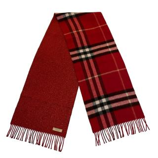 Burberry Red Lurex Knit Cashmere Blend House Check Scarf