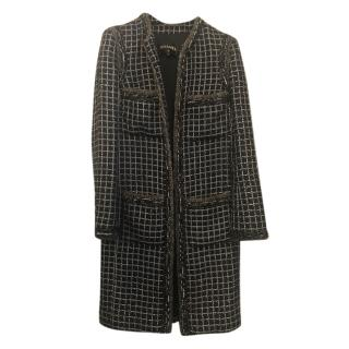 Chanel Blue/Silver Metallic Check Tweed Runway Longline Jacket