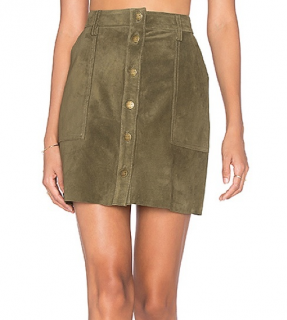 Current/Elliott Olive Suede Naval Mini Skirt