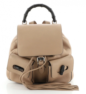 Gucci Beige Leather Bamboo Tassel Backpack