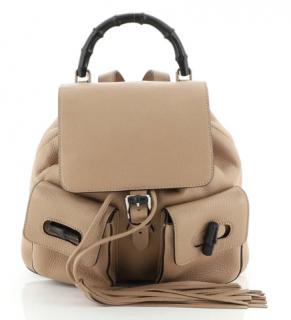 Gucci Beige Leather Bamboo Tassel Backpack
