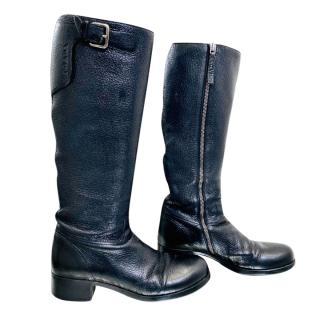 Prada Black Sport Black Grained Knee Boots