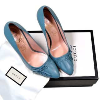 Gucci Blue Ruched Nappa Limited Edition Pumps
