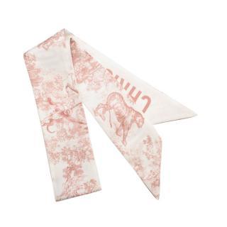 Christian Dior Pink Silk Twill Toile De Jouy Mitzah Scarf