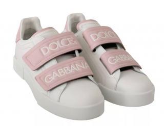 Dolce & Gabbana White & Pink Logo Strap Sneakers