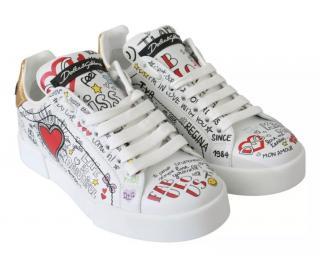 Dolce & Gabbana White Graffiti Print Sneakers