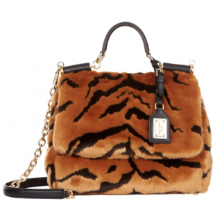 Dolce & Gabbana Medium Sicily Soft Tiger Print Bag