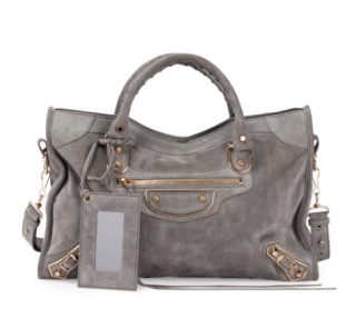 Balenciaga Classic Metallic Edge Small City Suede Shoulder Bag