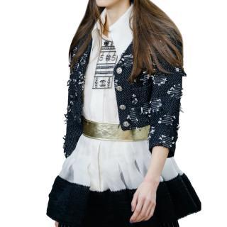 Chanel Black & White Distressed Tweed Runway Crop Jacket