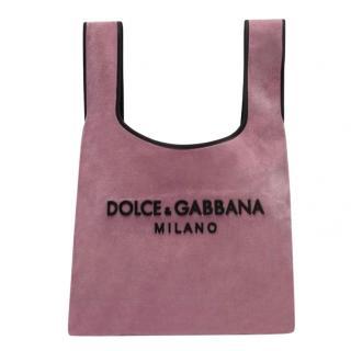 Dolce & Gabbana Pink Velvet Market Tote