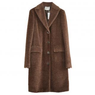 Agnona Brown Alpaca & Wool Blend Single Breasted Coat