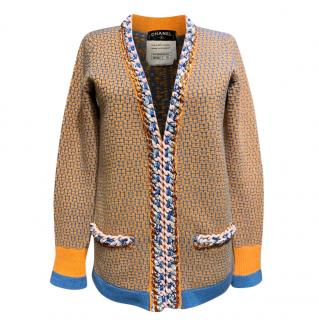 Chanel Yellow/Blue Cashmere Knit Braided Chain Trim Cardigan