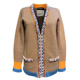 Chanel Yellow/Blue Cashmere Knit Braided Chain Trim Cardigan