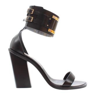 Roger Vivier Black Leather Gommettine Sandals