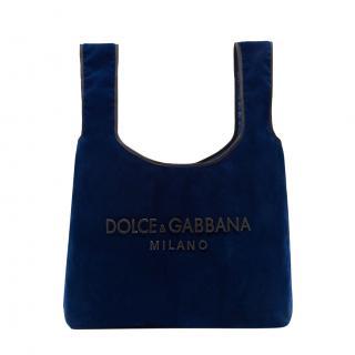 Dolce & Gabbana Blue Velvet Market Tote