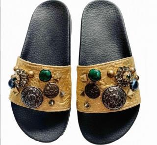 Dolce & Gabbana Embellished Jacquard Slides