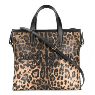 Dolce & Gabbana Leopard Medium Market Shopping Tote