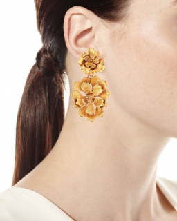 Oscar de la Renta Blooming Bold Flower Drop Clip Earrings