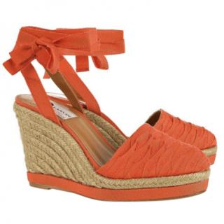 Lanvin Orange Grosgrain Espadrille Wedges