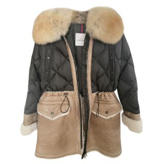Moncler Shearling/Suede Coat with Raccoon Fur Trim