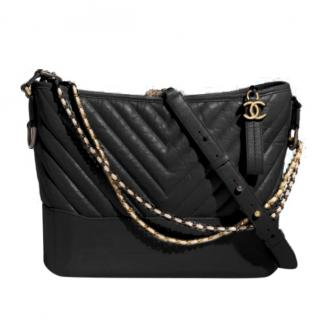 Chanel Black Chevron Gabrielle Hobo Bag
