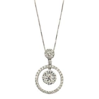 Bespoke 18ct White Gold 0.80ct Diamond Circle Pendant Necklace