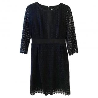 DVF Black Lace Embroidered Dress