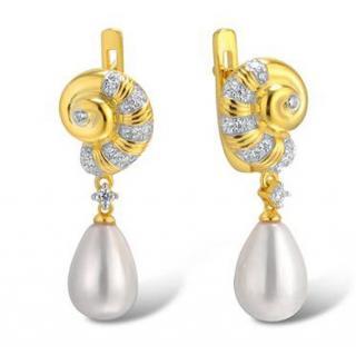 Salvatore Plata Faux Pearl Shell Drop Earrings