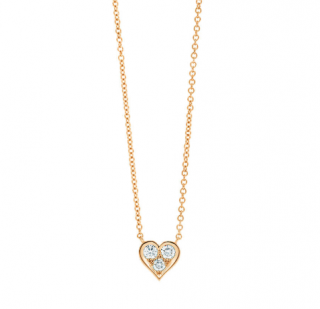 Tiffany & co. Hearts Pendant in 18k gold w/ round brilliant diamonds