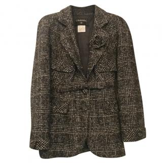 Chanel Black & White Check Tweed Belted Jacket w/ Camellia Brooch