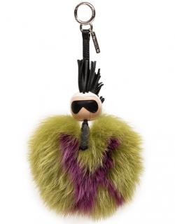 Fendi Green & Purple Fox Fur Karlito Leather Pom Pom